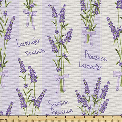 Ambesonne Lavender Fabric by The Yard, Stripes and Flowers with Ribbons Romantic Country Spring Season Inspired Design Art, Decorative Fabric for Upholstery and Home Accents, 1 Yard, Purple