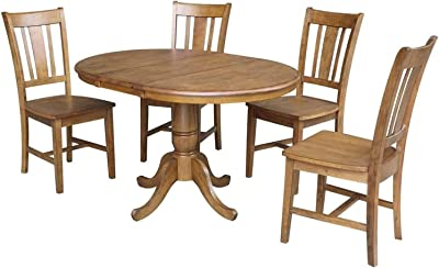"""International Concepts 36"""" Round Top Pedestal Ext Table With 12"""" Leaf And 4 Rta Chairs, Pecan"""