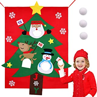 Aytai Christmas Felt Bean Bag Toss Games with 3 Snowballs Christmas Game for Kids Party