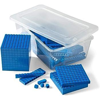 hand2mind Blue Interlocking Base Ten Blocks, Math Manipulative Starter Kit (Set of 161)