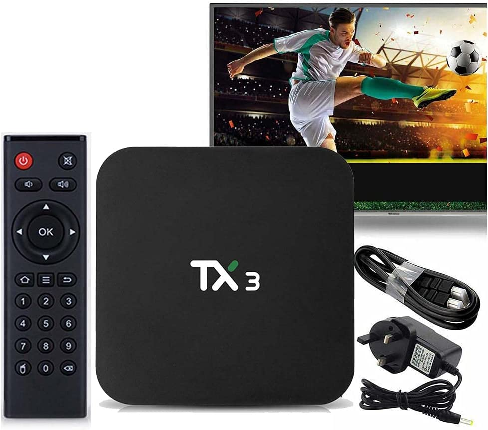 XIAOYAOJING TX3 Android 9.0 Smart Box Amlogic S90538 K Set Top Box Double WiFi BT H.265 Media Player(4GB 32GB-US Plug)