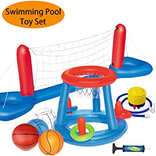 MICROFIRE Floating Pool Basketball Hoop and Volleyball Net Pool Games Toys Water Inflatable Hoop Sports Set