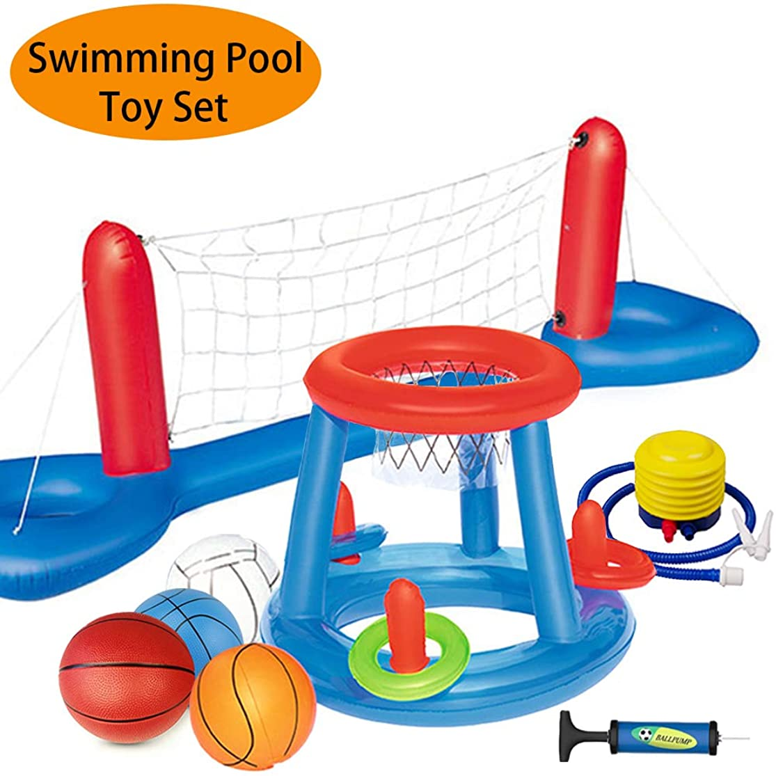 MICROFIRE Floating Pool Basketball Hoop and Volleyball Net Pool Games Toys Water Inflatable Hoop Sports Set xqfpzskc8