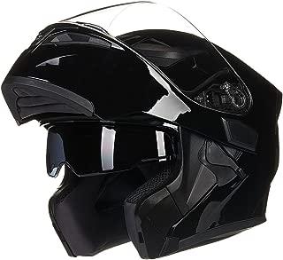 ILM Motorcycle Dual Visor Flip up Modular Full Face Helmet DOT 6 Colors (XL, GLOSS BLACK)