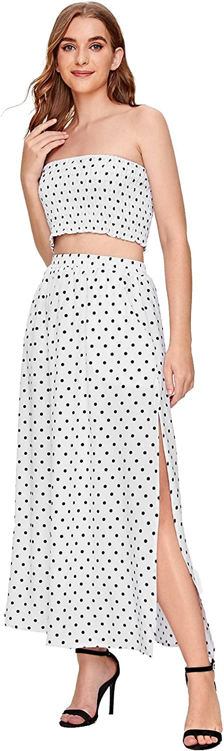 Oklahoma City Mall NEW before selling Floerns Women's 2 Piece Outfit Polka Dots Long Skir Crop and Top