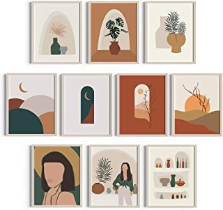 Feminine Art Prints Mid Century Decor 8x10 Prints - Set of 3 Painting of Woman Terracotta Boho Art Wall Decor - Unframed A...