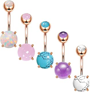 14G Stainless Steel Belly Button Rings Marble Stone for Women Girls Natutal Mixed Stone Navel Rings Body Piercing Jewelry