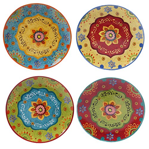 Certified International Tunisian Sunset Dinner Plates, Set of 4, 10.5', Multicolored