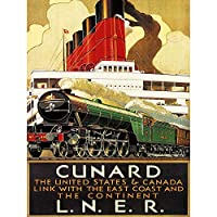 Travel Transport Train Rail Engine Ocean Liner Ship Steam UK Art Print Poster Wall Decor 12X16 Inch 旅行輸送列車レールエンジン海洋ライナー船蒸気イギリスポスター壁デコ