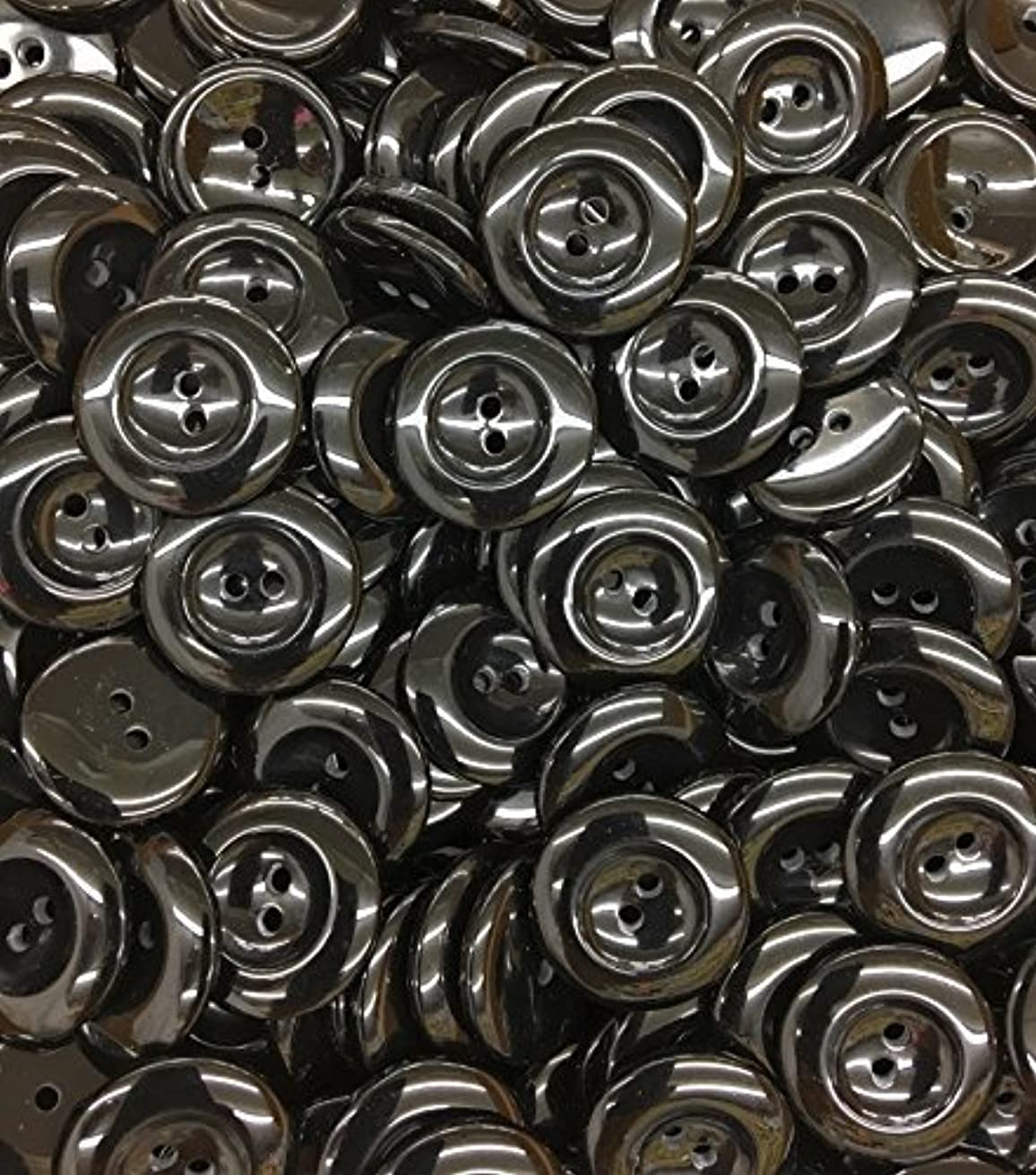 100 Tailored Premium Shiny 2 Hole Black Buttons - 3/4
