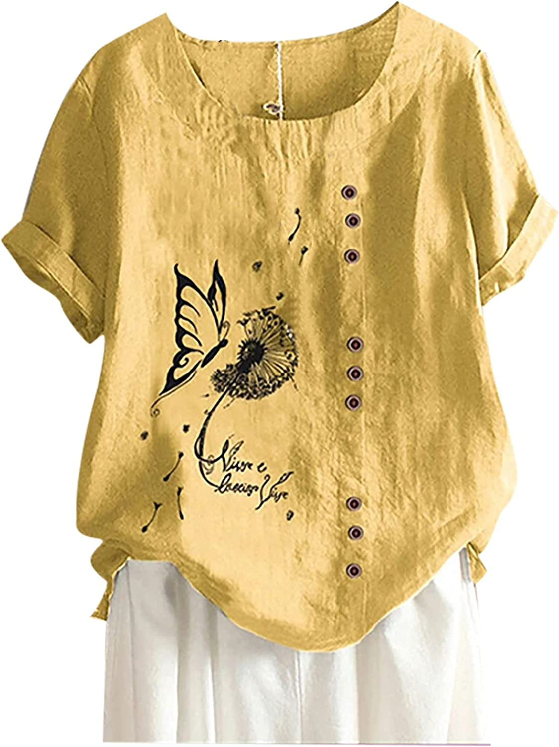 Women's Plus Size Cotton Linen Tops Summer O-Neck Short Sleeve Butterfly Printed Loose Shirt Tops Blouse