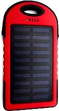 Cargador Solar Portátil 5 Colores, Batería Externa 3 Puertos de Salida con Linterna led Resistente al Agua para montañas e excursiones, Compatible móvil Tablet Android/ISO etc. (Rojo)