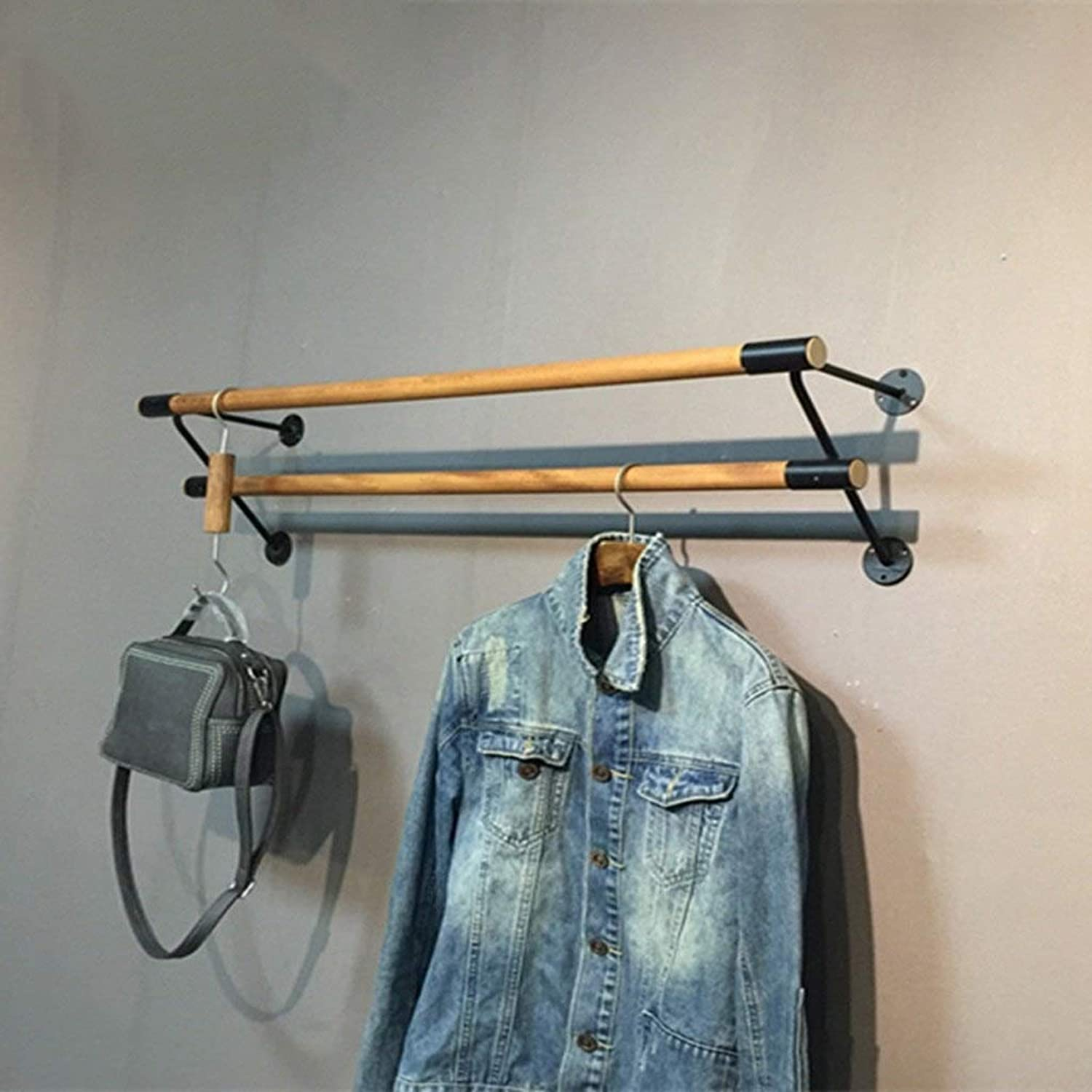 3 Layers Living Room Bedroom Study Room Simple Style Stainless Steel Coat Racks Solid Wood Three Bar Retro Hook Wall Shelf Combination Clothing Rack (Size   60 cm)