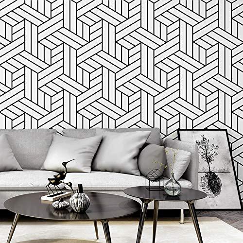 QWESD Papel Tapiz de Estilo nórdico Fondo de TV Enrejado en Blanco y Negro gráficos geométricos Dormitorio Sala de Estar Papel Tapiz Minimalista Moderno