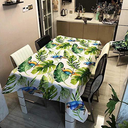 BGREN Mantel Mesa Cubierta De Mesa Serie Forest Manteles Rectangulares Impermeables Árbol Verde Flores Y Pájaros Mantel De Café De Té Decoración del Hogar-Tb3004-G_El 140X220Cm