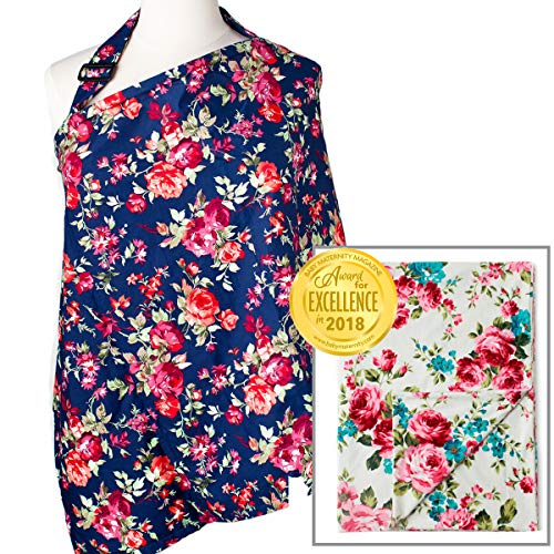 Best Review Of Nursing Cover - Navy Floral and Blanket - White Floral Bundle - Patented Sewn in Burp...