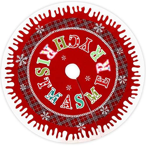 Aitsite Runde Weihnachtsbaum-Schürze, Weihnachtsschmuck mit Rotes Plaid und Frohe Weihnachten Briefe, Christbaumdecke Schutz vor Tannennadeln - Weihnachten - Rot (122cm)