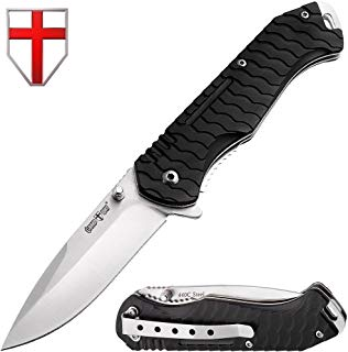 Grand Way Folding Tactical Knife - Fold Pocket Knives - Stainless Steel Blade with Black Ribbed Handle Metal Clip - Best Urban Tactical Tourist Knife for Travel Hiking Survival 6788 P-C