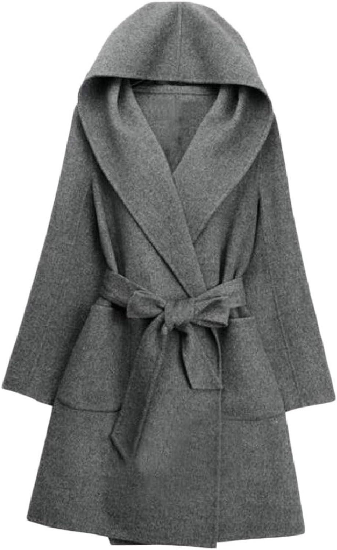 TymhgtCA Womens Long Sleeve Casual Hooded Long Jacket Woolen Coat