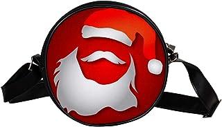 COOSUN Weihnachtsmann Bart Runde Crossbody Tasche Schulter Sling Bag Handtasche Geldbörse Satchel Schultertasche für Kinde...