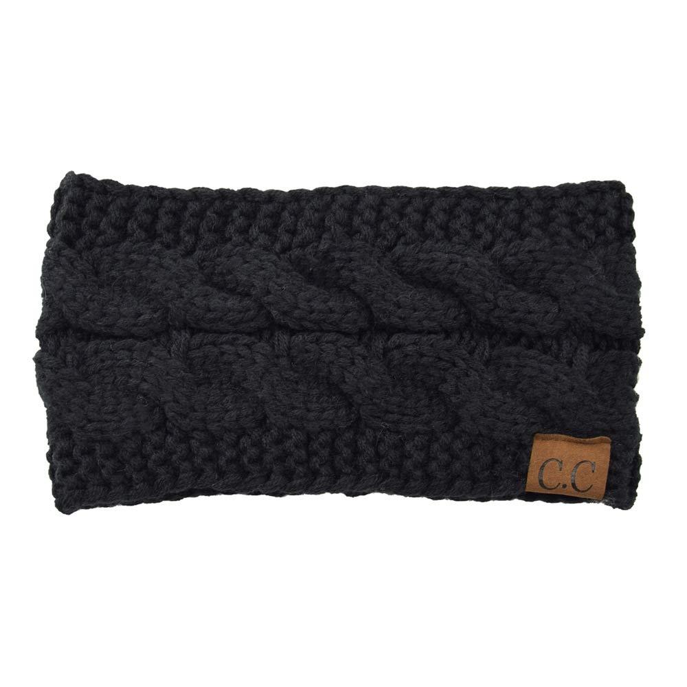 Winter Ear Warmer Headband Knit Fleece Ear Cover Head Wrap Hair band (Black)