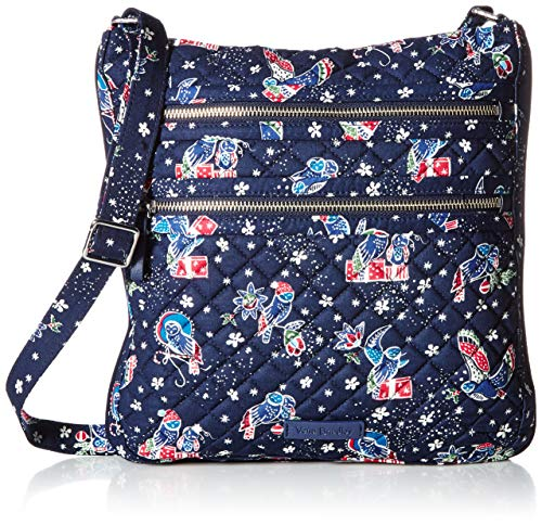Vera Bradley Iconic Triple Zip Hipster Holiday Owls One Size