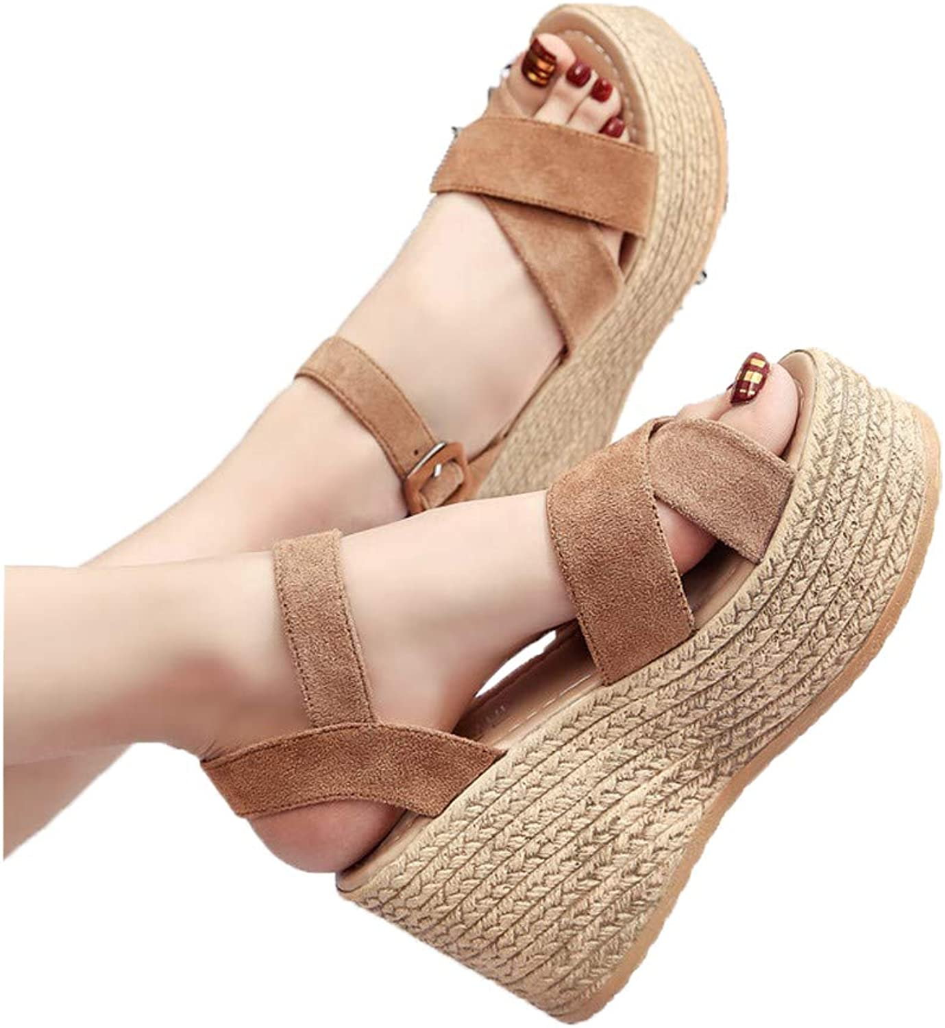 WTKRSM Summer Wedge Flat Sandals Workplace Sandals Women's Buckle Open Toe shoes