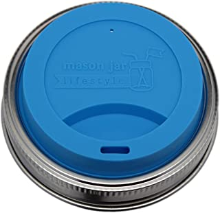 MJL Silicone Drinking Lids with Stainless Steel Bands for Mason Jars (2 Pack, Bright Blue, Wide Mouth)