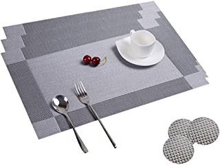 Table Mats Set of 8 Dining Table Place Mats Washable Placemats Non-slip Heat Resistant PVC with Singel Border Decoration R...