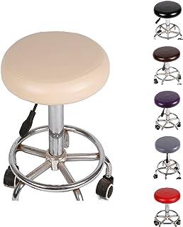 Sue Supply Funda redonda de piel sintética elástica, impermeable, para silla de bar, salón de belleza, oficina, color beige