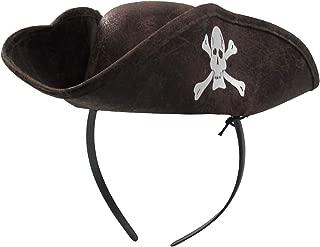 Jacobson Hat Company Women's Mini Pirate Hat Headband with Skull & Crossbones, Brown, Adjustable