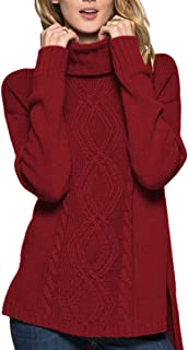 Woman's Long Sleeves Irish Cable Knit Chunky Turtleneck Tunics Pullover Sweater Petite Size