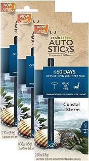 Enviroscents Auto Sticks Natural Car Air Fresheners, 3-Pack with 6 Sticks (Coastal Storm)