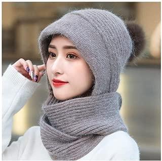 MUZIWENJU Women's Autumn and Winter Plus Velvet Thick Fashion Knit Hat, (hat + Scarf) Cold Warm One-Piece Hat (Color : Brown)