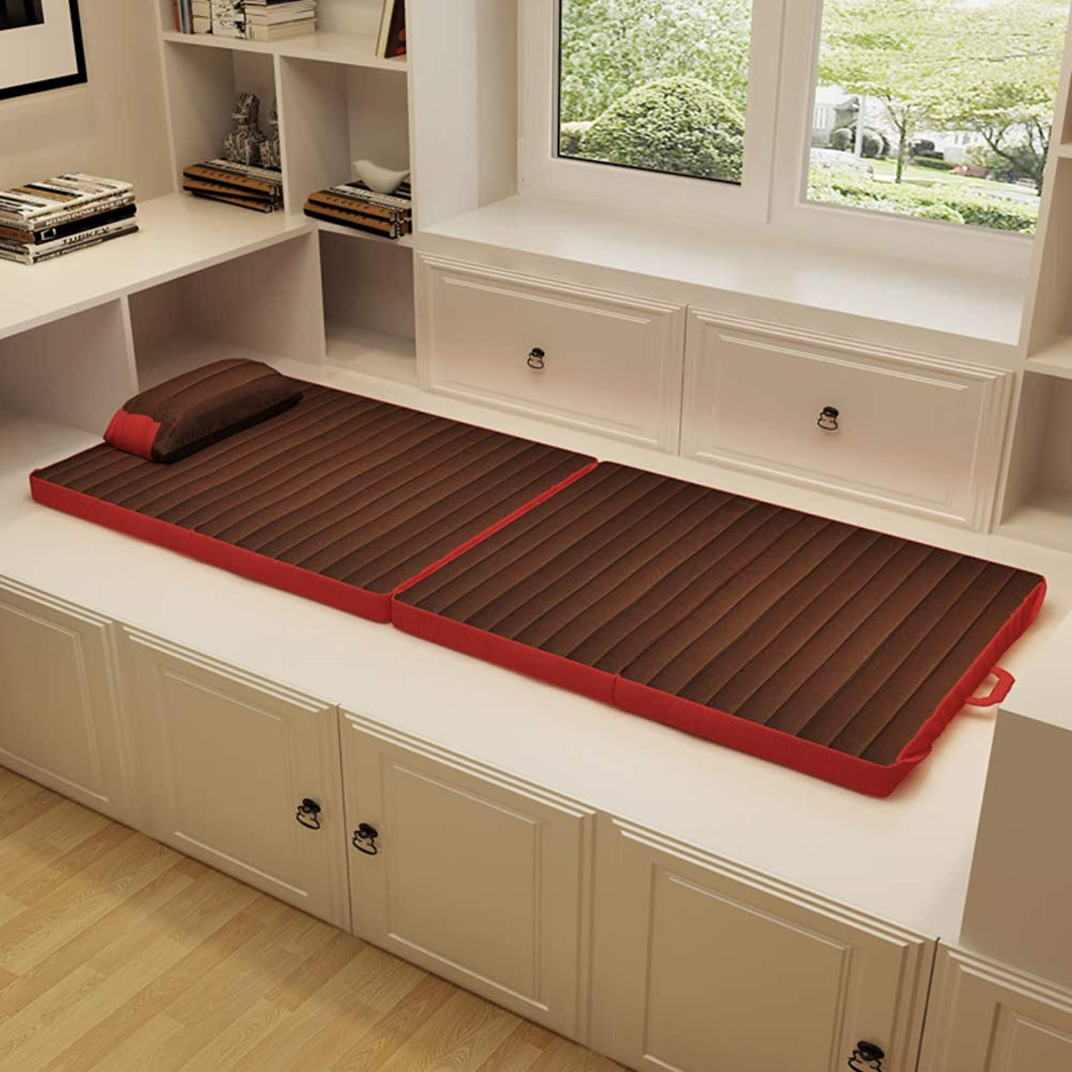 Folding Tatami Floor mat, Moisture Proof Futon Mattress Sleeping mat for Dorm Office Camping-Coffee