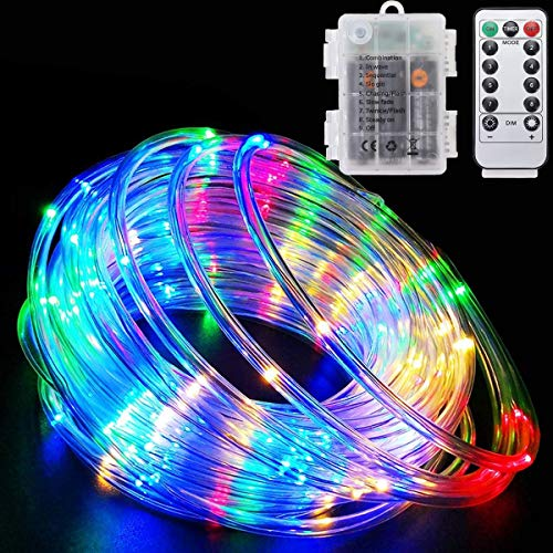 LED Rope Lights Battery Powered String Lights with Remote Control 40Ft 120 LEDs 8 Modes Color Changing Indoor Outdoor Waterproof Strip Fairy Lights for Garden Christmas Party Holiday Decoration 1 Pack