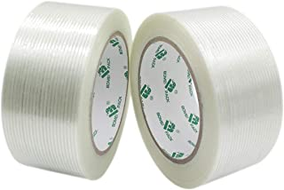 Mono Filament Strapping Tape, Heavy Duty Transparent Reinforced Fiberglass Tape, 2 Roll 2 Inch x 35 Yards 4.72 Mil, BOMEI PACK