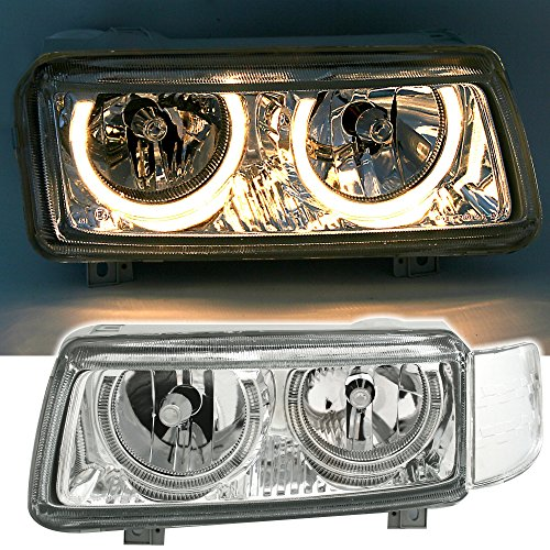 AD Tuning DEPO Angel Eyes Scheinwerfer Set Klarglas Chrom mit Standlichtringen