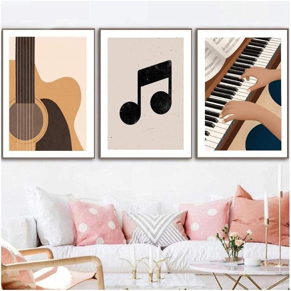 WANGHH Póster de Arte de música nórdica Póster de Guitarra clásica Pintura de Lienzo de Piano Cuadro de Arte de Pared Vintage Sala de Estar Minimalista Decoración para el hogar-40x50cmx3Sin Marco