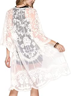 Women's Lace Cardigan Floral Crochet Sheer Beach Cover...