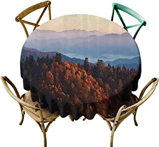 Spillproof Tablecloth National Parks Home Decor Sunrise at Mountains Pine Trees Covered on Hill Mist South Carolina for Events Party Restaurant Dining Table Cover 55 INCH Multi