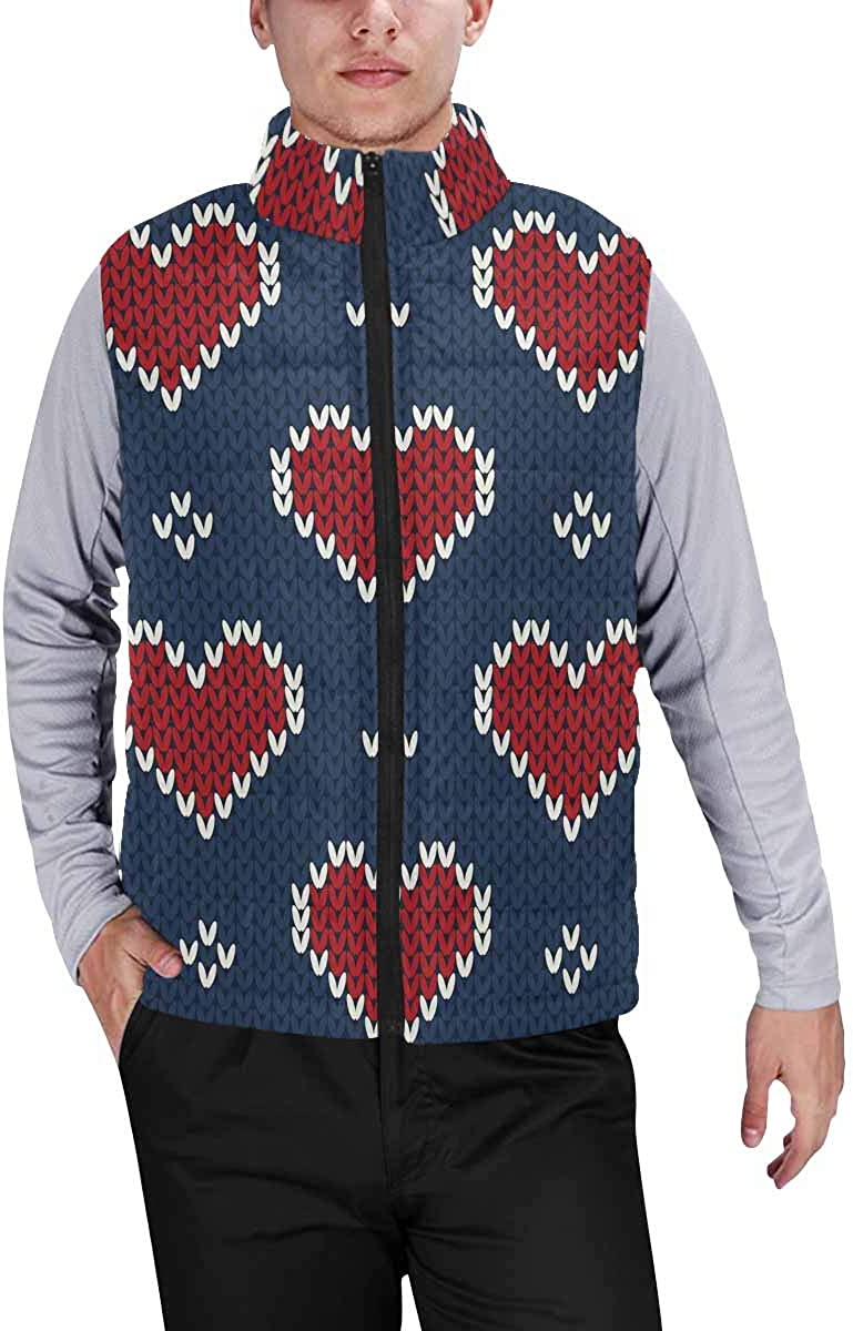 InterestPrint Men's Lightweight Vest Softshell for Camp Valentine's Day Holiday Knit Pattern with Hearts XL