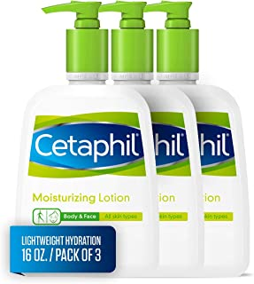 Cetaphil Moisturizing Lotion for All Skin Types, Body and Face Lotion, 16 Fl Oz (Pack of 3)