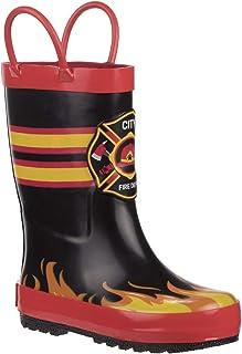 أحذية المطر رجد بير بويز رجل الإطفاء للأطفال الصغار/الأطفال الصغار أسود/أحمر