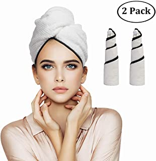 Orthland Microfiber Rapid Drying Hair Towel Wraps for Women [2 Pack] Anti-frizz Quick Dry Head Turban Hat Shower Caps for Long Thick & Curly Hair, Super Absorbent, Fast Drying & Never Falls Off