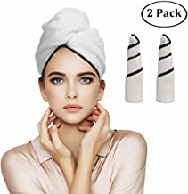 Orthland Magic Instant Dry Rapid Drying Hair Towel Wraps for Women [2 Pack] Microfiber Anti-frizz Head Turban Shower Caps for Long Thick & Curly Hair, Super Absorbent