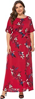 Women's Dress, Large Size Round Neck Short Sleeve Print Dress, Cocktail Party Wedding Evening Dress (Color : Red, Size : XXXXXL)