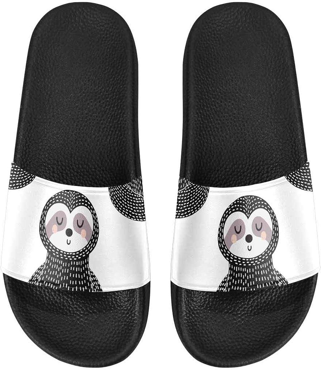 InterestPrint Women's Lightweight Slipper Sandals for Shower Sloth Boho Palm Tree Leaf