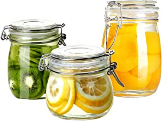 Folinstall 3-Pieces (17oz, 24oz and 34oz) Wide Mouth Mason Jars - Glass Jars with Hinged Lids - Canning Jars Perfect for Storing Coffee, Sugar, Flour. Extra one Replacement Silicone Gasket Included