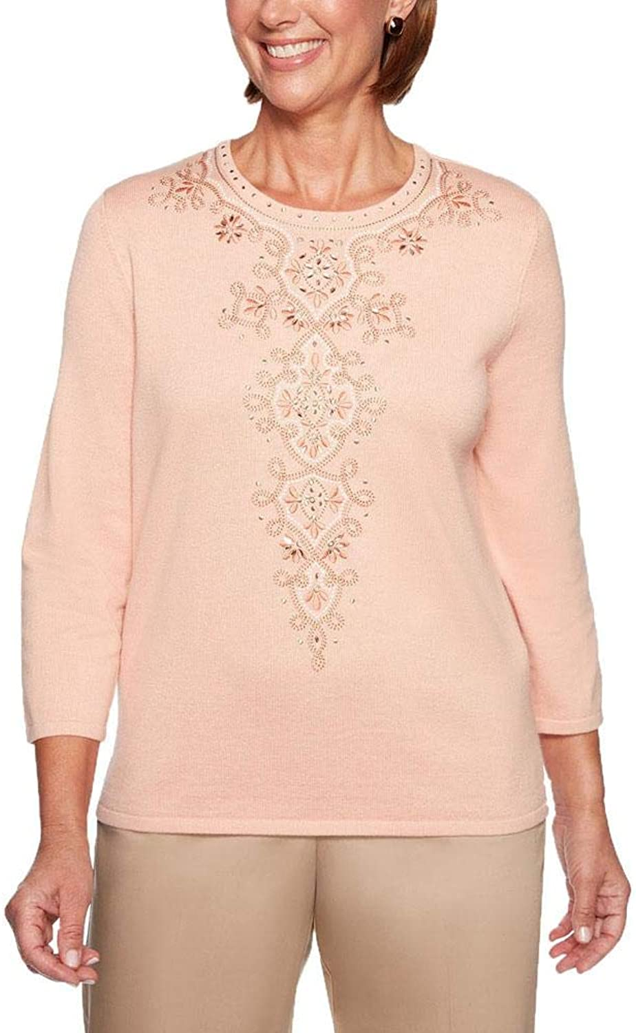 Alfred Dunner Good to Go Center Medallion Sweater
